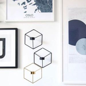3D Geometric Candle Holder Wall Mount Gold